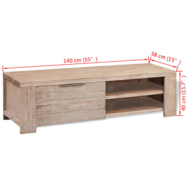 "vidaXL TV Cabinet Solid Brushed Acacia Wood 55""x15""x15.7""[9/9]"