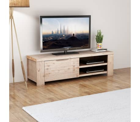 "vidaXL TV Cabinet Solid Brushed Acacia Wood 55""x15""x15.7""[1/9]"