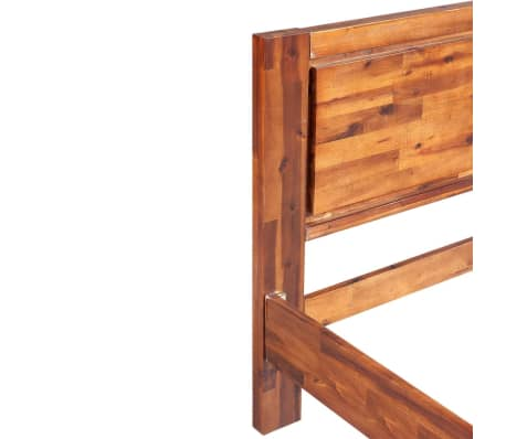 acheter vidaxl cadre de lit bois d 39 acacia massif marron 140 x 200 cm pas cher. Black Bedroom Furniture Sets. Home Design Ideas