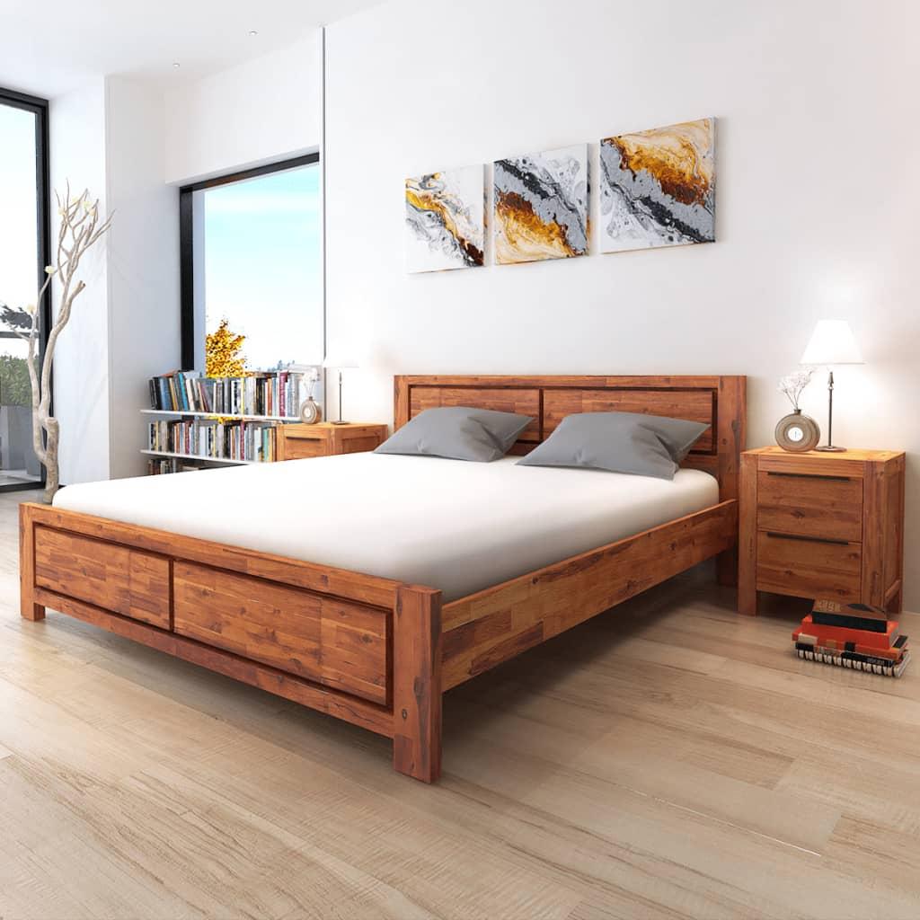 vidaXL Rám postele hnědý masivní akáciové dřevo 180 x 200 cm
