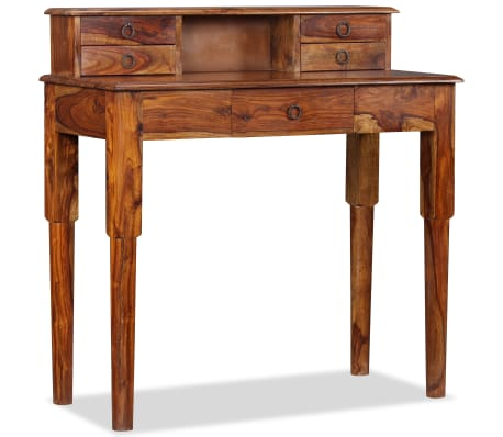 acheter vidaxl bureau avec 5 tiroirs bois de sesham massif 90 x 40 x 90 cm pas cher. Black Bedroom Furniture Sets. Home Design Ideas