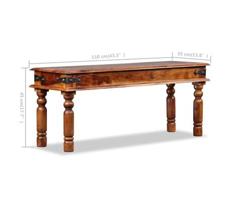 vidaXL Karališkas suoliukas, raus. dalbergijos mediena, 110x35x45cm[10/10]