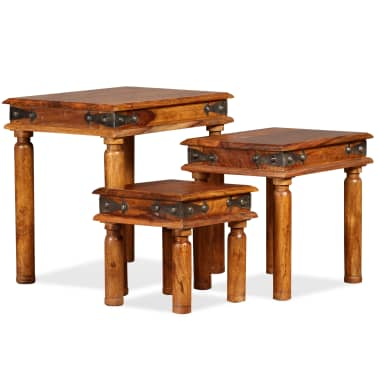 Vidaxl Table Gigogne 3 Pcs Bois Massif De Sesham Marron