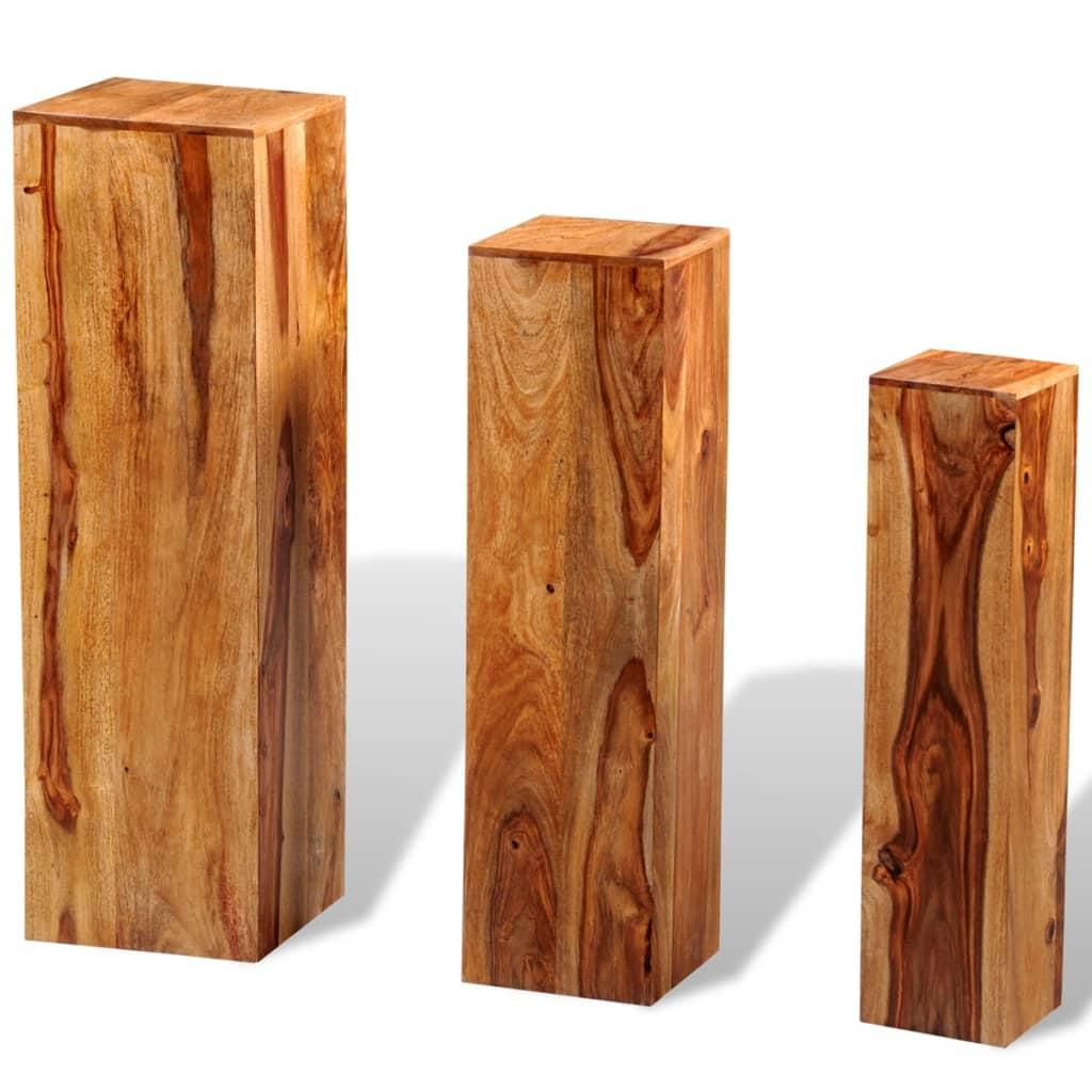 Afbeelding van vidaXL Plantenstandaarden massief sheesham hout bruin 3 st