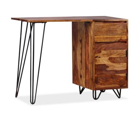 vidaXL Skrivbord med 1 låda och 1 skåp massivt sheshamträ