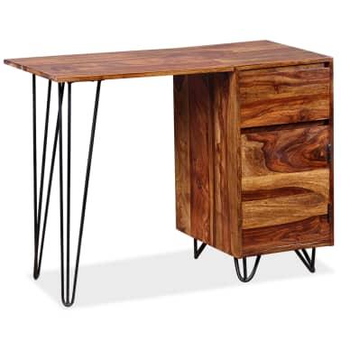 vidaXL Skrivebord med 1 skuffe og 1 skap heltre indisk rosentre[13/13]