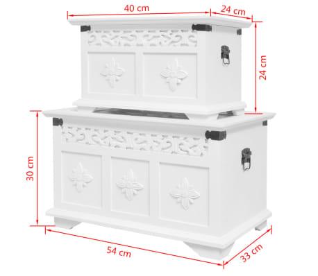 vidaXL Ensemble de deux coffres de rangement Blanc[6/6]