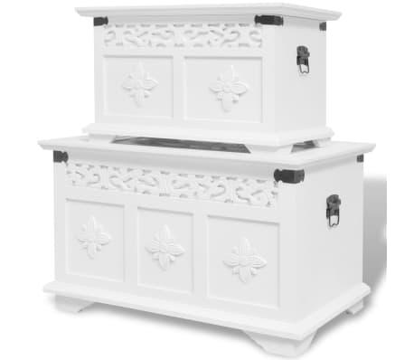 acheter vidaxl ensemble de deux coffres de rangement blanc pas cher. Black Bedroom Furniture Sets. Home Design Ideas