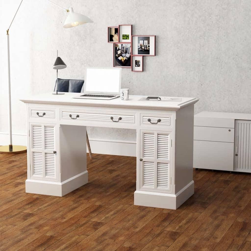 vidaXL Birou dublu cu piedestal, 140 x 48 x 80 cm, alb vidaxl.ro