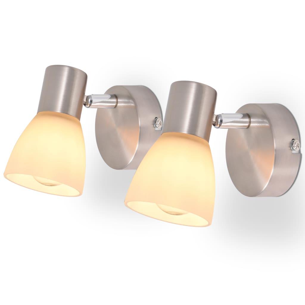 vidaXL Nástěnná lampa, 2 ks, E14, stříbrná