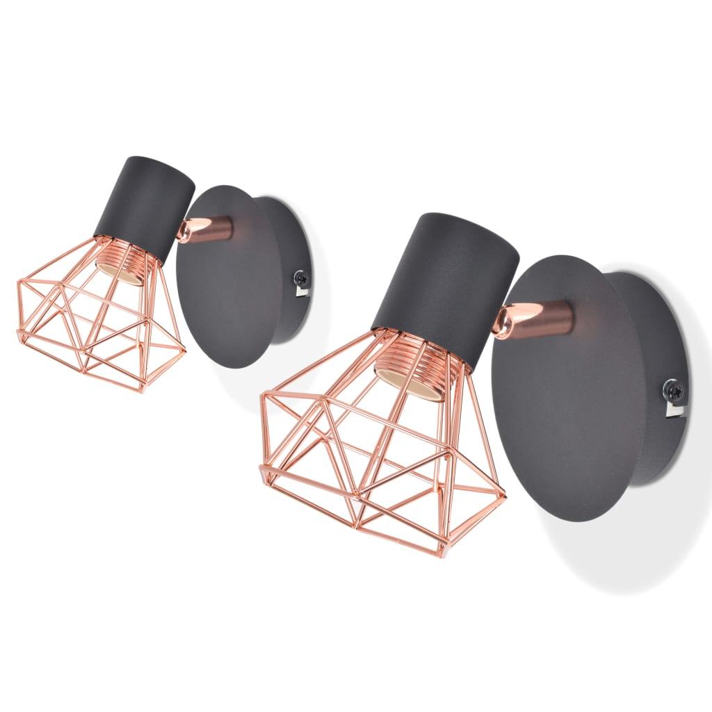 Nástěnná lampa, 2 ks, E14, černá a měď