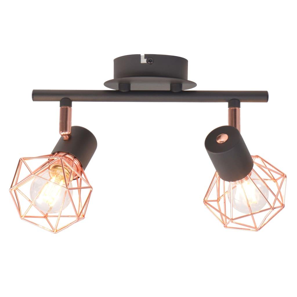 vidaXL Lampă de plafon cu 2 spoturi E14, negru și bronz poza 2021 vidaXL