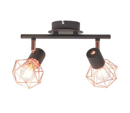 vidaXL Candeeiro de teto com 2 focos E14 preto e cobre