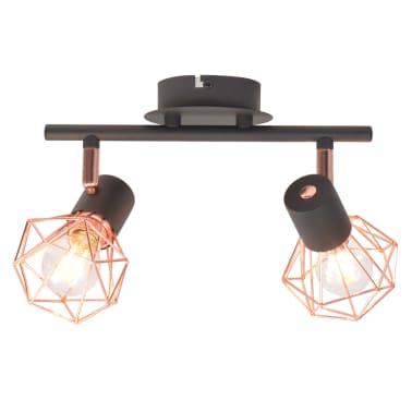 vidaXL Candeeiro de teto com 2 focos E14 preto e cobre[1/7]
