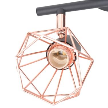vidaXL Candeeiro de teto com 2 focos E14 preto e cobre[3/7]