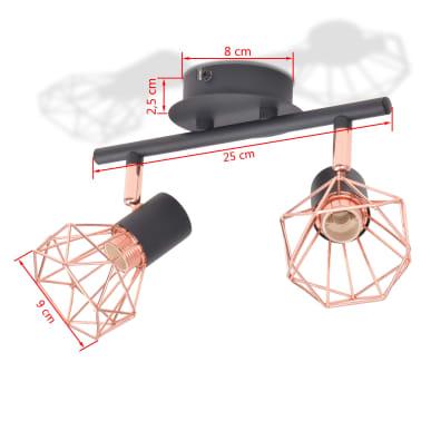 vidaXL Candeeiro de teto com 2 focos E14 preto e cobre[5/7]