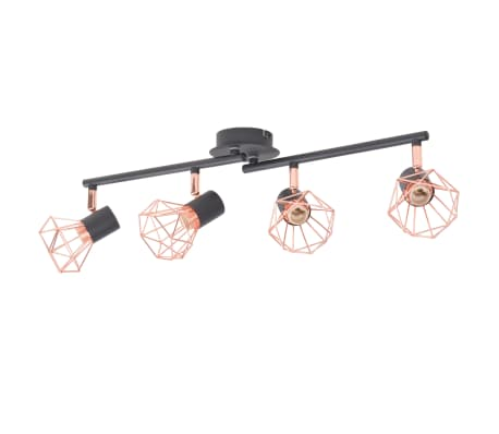 vidaXL Ceiling Lamp with 4 Spotlights E14 Black and Copper[2/7]