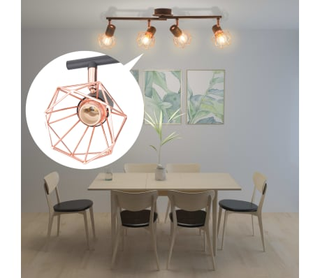vidaXL Ceiling Lamp with 4 Spotlights E14 Black and Copper[3/7]