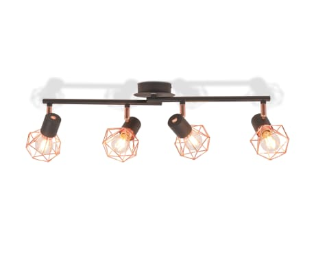 vidaXL Ceiling Lamp with 4 Spotlights E14 Black and Copper[4/7]