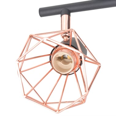 vidaXL Ceiling Lamp with 4 Spotlights E14 Black and Copper[5/7]