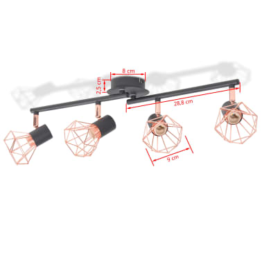 vidaXL Ceiling Lamp with 4 Spotlights E14 Black and Copper[6/7]