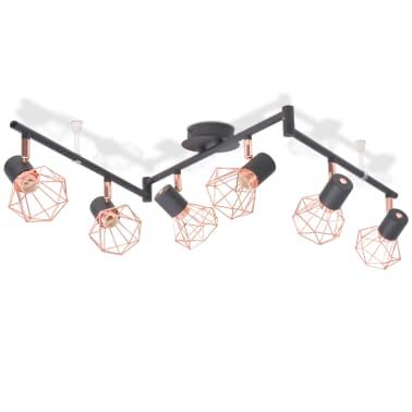 vidaXL Candeeiro de teto com 6 focos E14 preto e cobre[2/7]