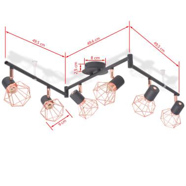 vidaXL Candeeiro de teto com 6 focos E14 preto e cobre[5/7]