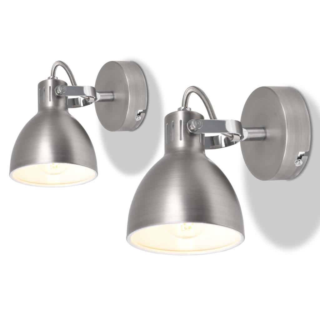vidaXL Nástěnná lampa, 2 ks, na 2 žárovky E14, šedá