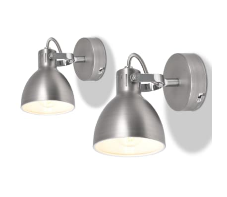 vidaXL Wall Lamps 2 pcs for 2 Bulbs E14 Grey[1/10]