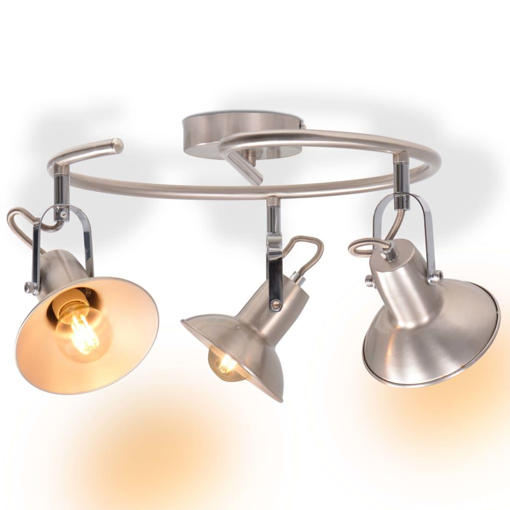 vidaXL Stropní svítidlo na 3 žárovky E14, stříbrná