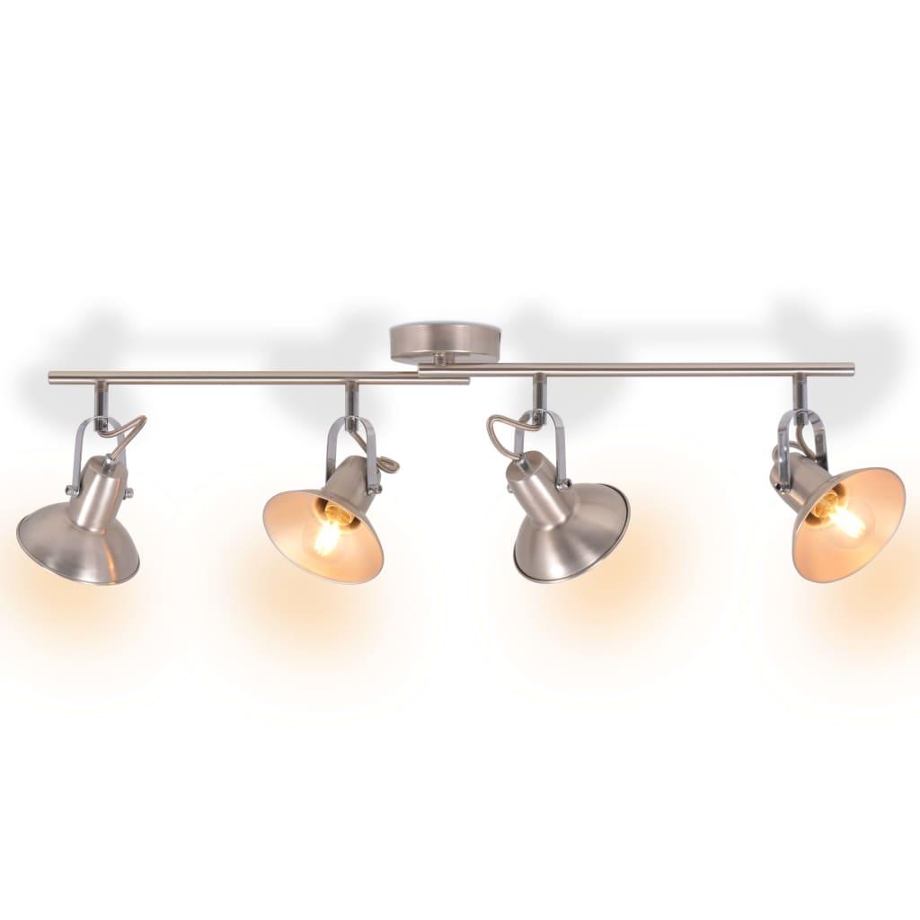 vidaXL Stropní svítidlo na 4 žárovky E14, stříbrná