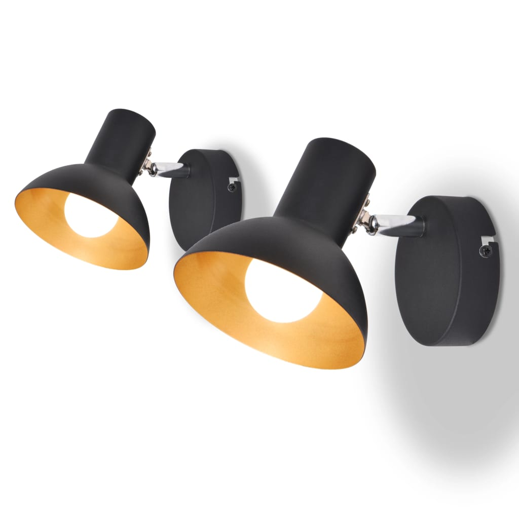 Nástěnná lampa, 2 ks, na 2 žárovky E27, černo-zlatá