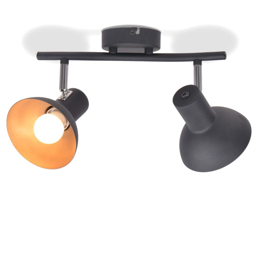 vidaXL Φωτιστικό Οροφής Ράγα για 2 Λαμπτήρες E27 Μαύρο / Χρυσαφί