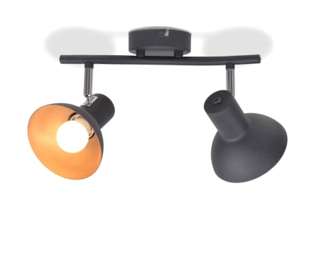 vidaXL Ceiling Lamp for 2 Bulbs E27 Black and Gold