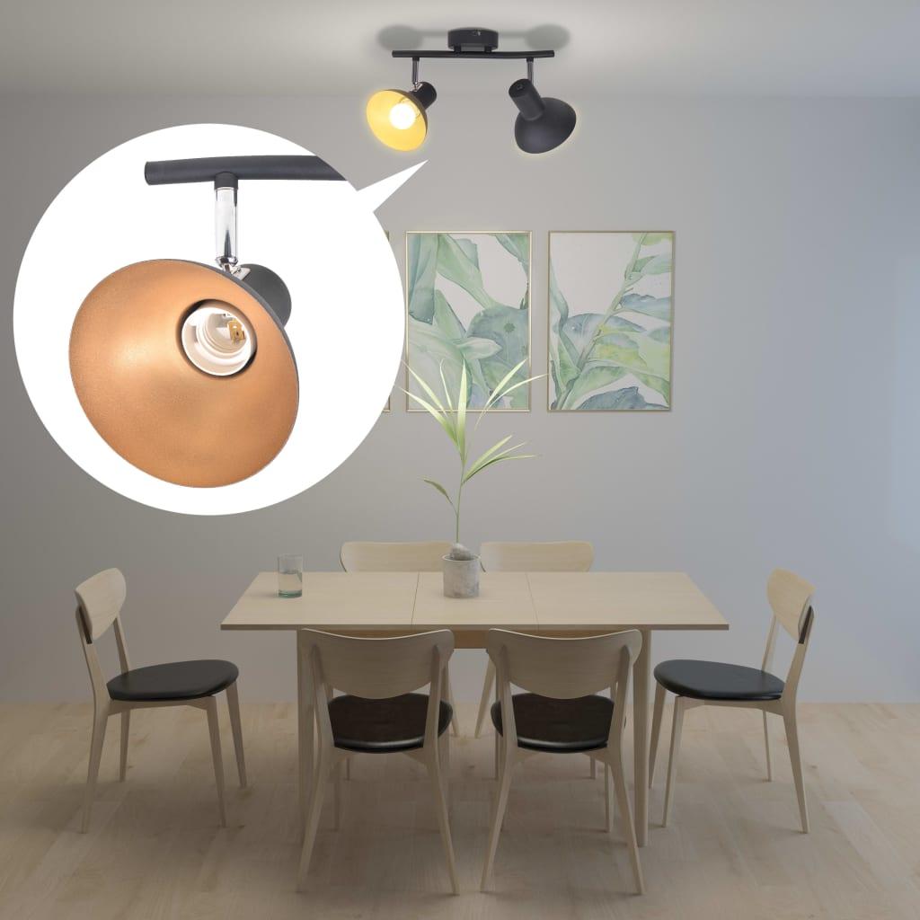 Stropní svítidlo pro 2 žárovky E27, černo-zlatá
