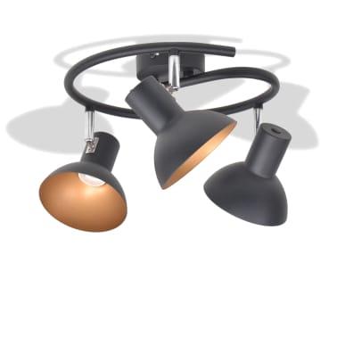 vidaXL Ceiling Lamp for 3 Bulbs E27 Black and Gold[2/8]
