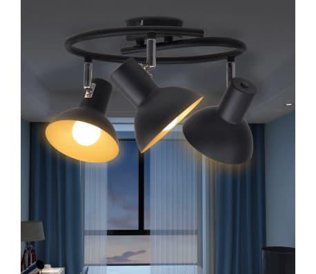 vidaXL Ceiling Lamp for 3 Bulbs E27 Black and Gold[3/8]