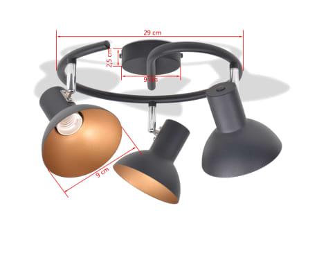 vidaXL Ceiling Lamp for 3 Bulbs E27 Black and Gold[6/8]