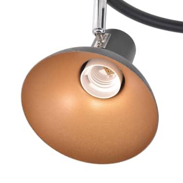 vidaXL Ceiling Lamp for 3 Bulbs E27 Black and Gold[5/8]