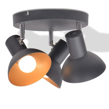 vidaXL Lubinis šviestuvas su 3 E27 lemputėmis, juodas ir auksinis[1/8]