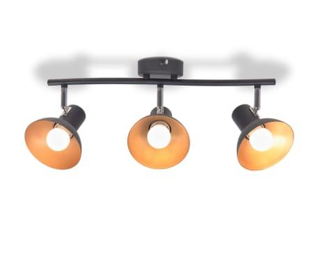 vidaXL Lubinis šviestuvas su 3 E27 lemputėmis, juodas ir auksinis[2/8]