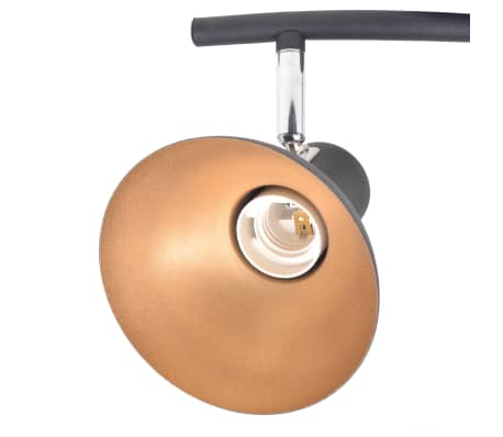 vidaXL Lubinis šviestuvas su 3 E27 lemputėmis, juodas ir auksinis[5/8]