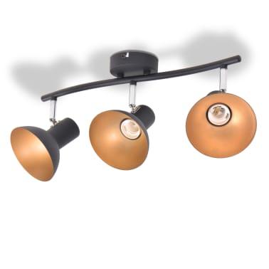 vidaXL Lubinis šviestuvas su 3 E27 lemputėmis, juodas ir auksinis[3/8]