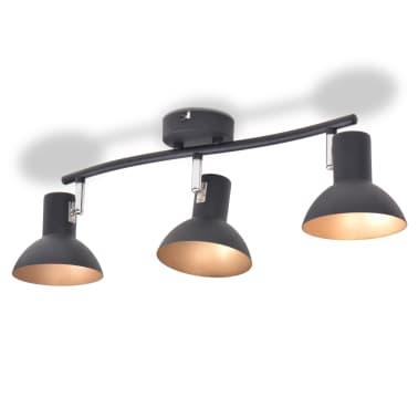 vidaXL Lubinis šviestuvas su 3 E27 lemputėmis, juodas ir auksinis[4/8]