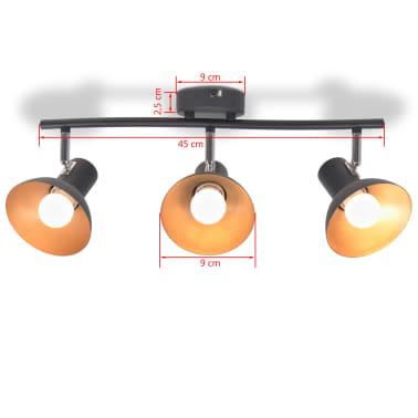vidaXL Lubinis šviestuvas su 3 E27 lemputėmis, juodas ir auksinis[6/8]