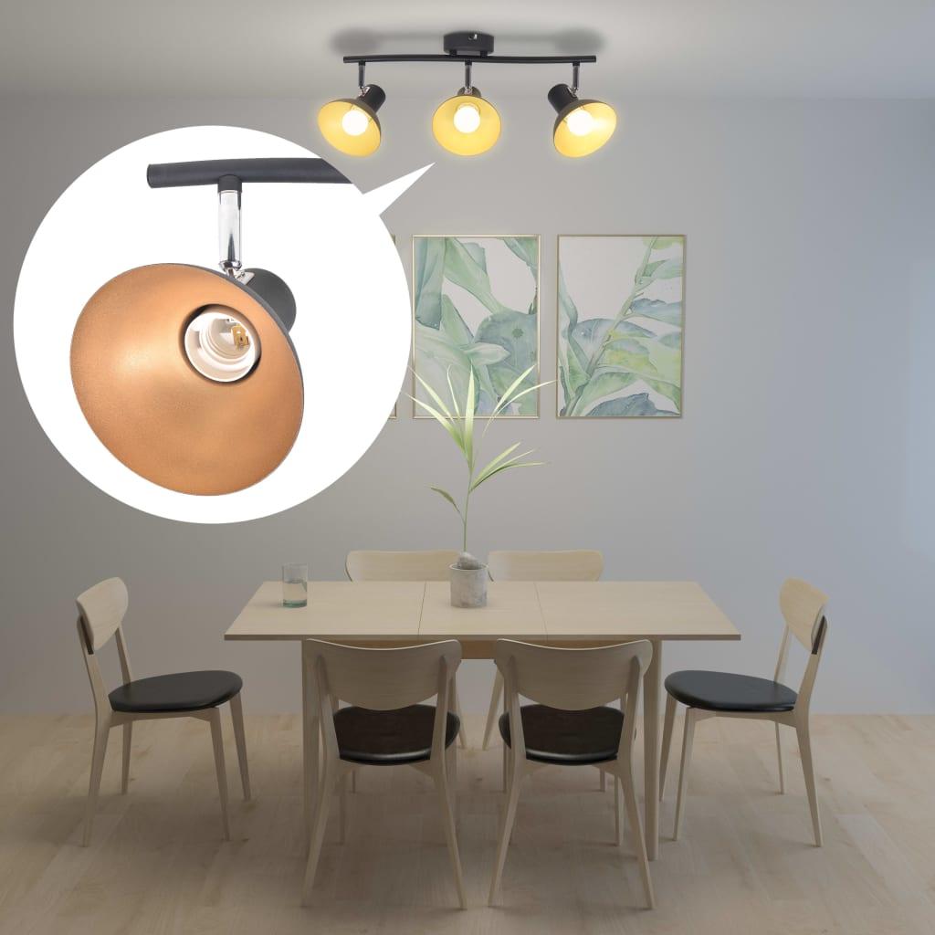 Stropní svítidlo pro 3 žárovky E27, černo-zlatá