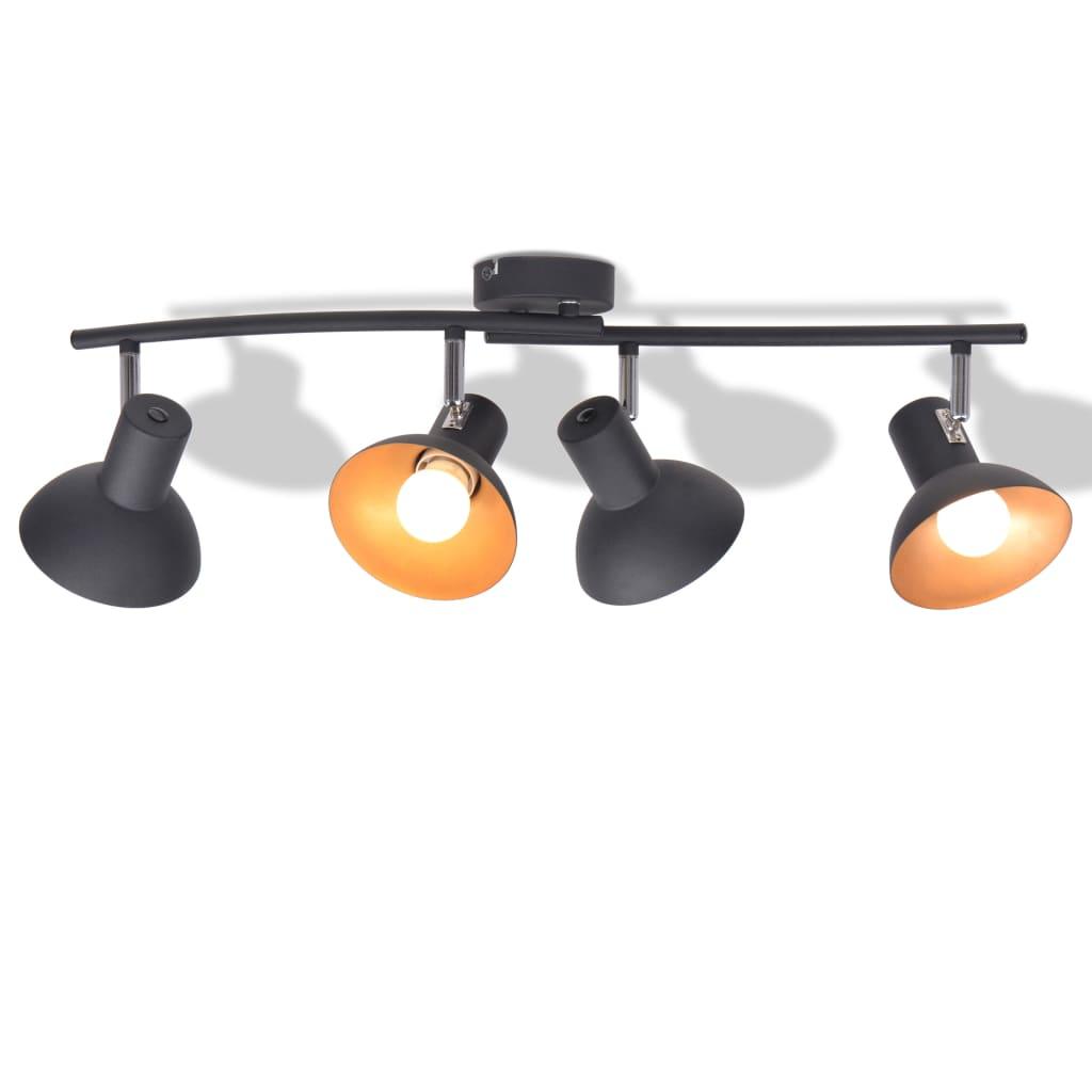 Stropní svítidlo pro 4 žárovky E27 černo-zlaté