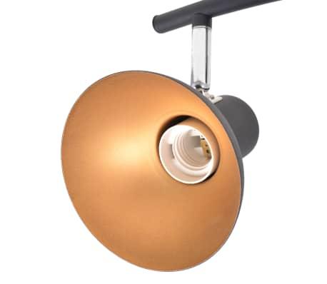 Lubinis šviestuvas su 4 E27 lemputėmis, juodas ir auksinis[4/8]