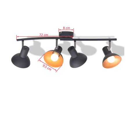 Lubinis šviestuvas su 4 E27 lemputėmis, juodas ir auksinis[5/8]