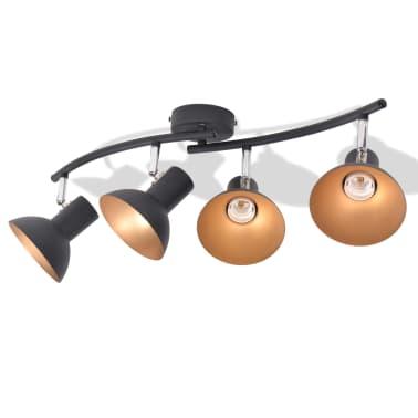 Lubinis šviestuvas su 4 E27 lemputėmis, juodas ir auksinis[3/8]